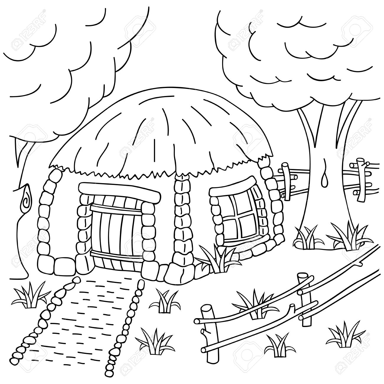 1300x1300 Hand draw Village House Behind The Fence. Coloring Book Page For