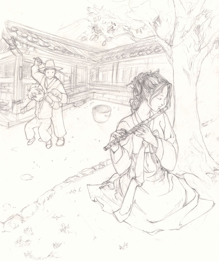 758x905 Korean Village Scene 1st Draft By Layzkimchi