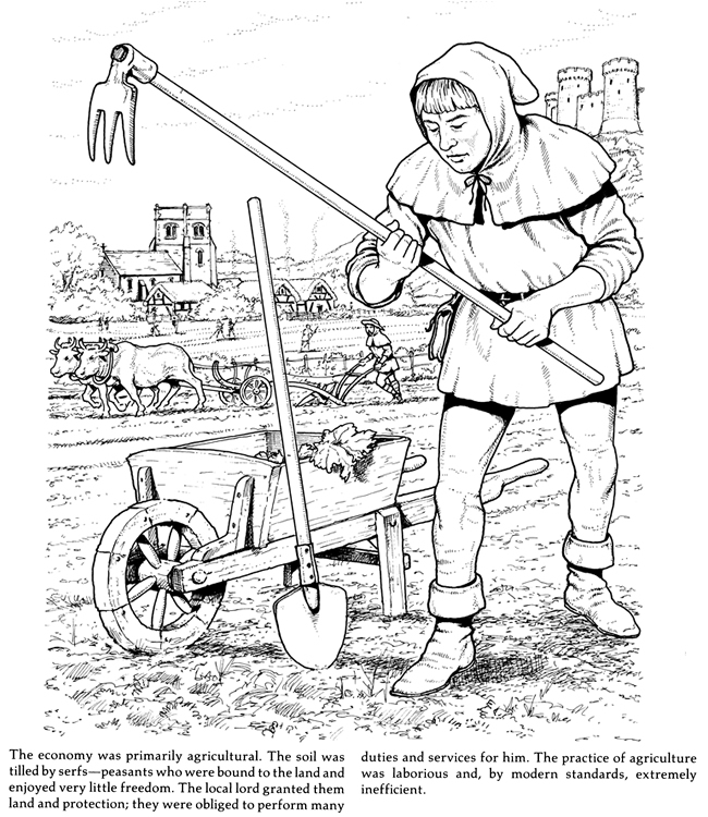 650x750 Life In A Medieval Castle And Village Coloring Book Coloring