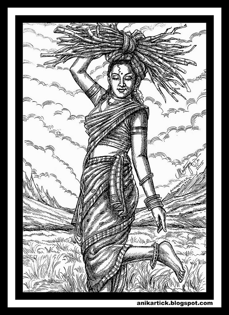 745x1024 Tamil Art,tamil Drawings,tamil Traditional Art,tamil Village Art