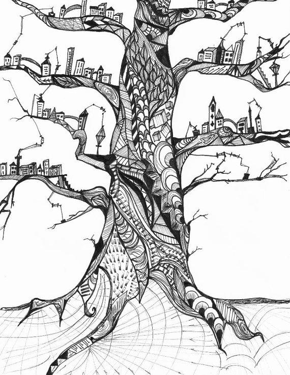 570x738 Tree Village Pattern Ink Drawing Print Trees Ink