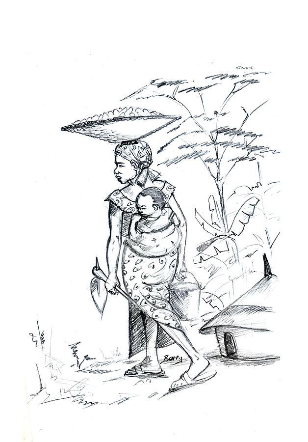 628x900 African Rural Woman Drawing By Emmanuel Baliyanga