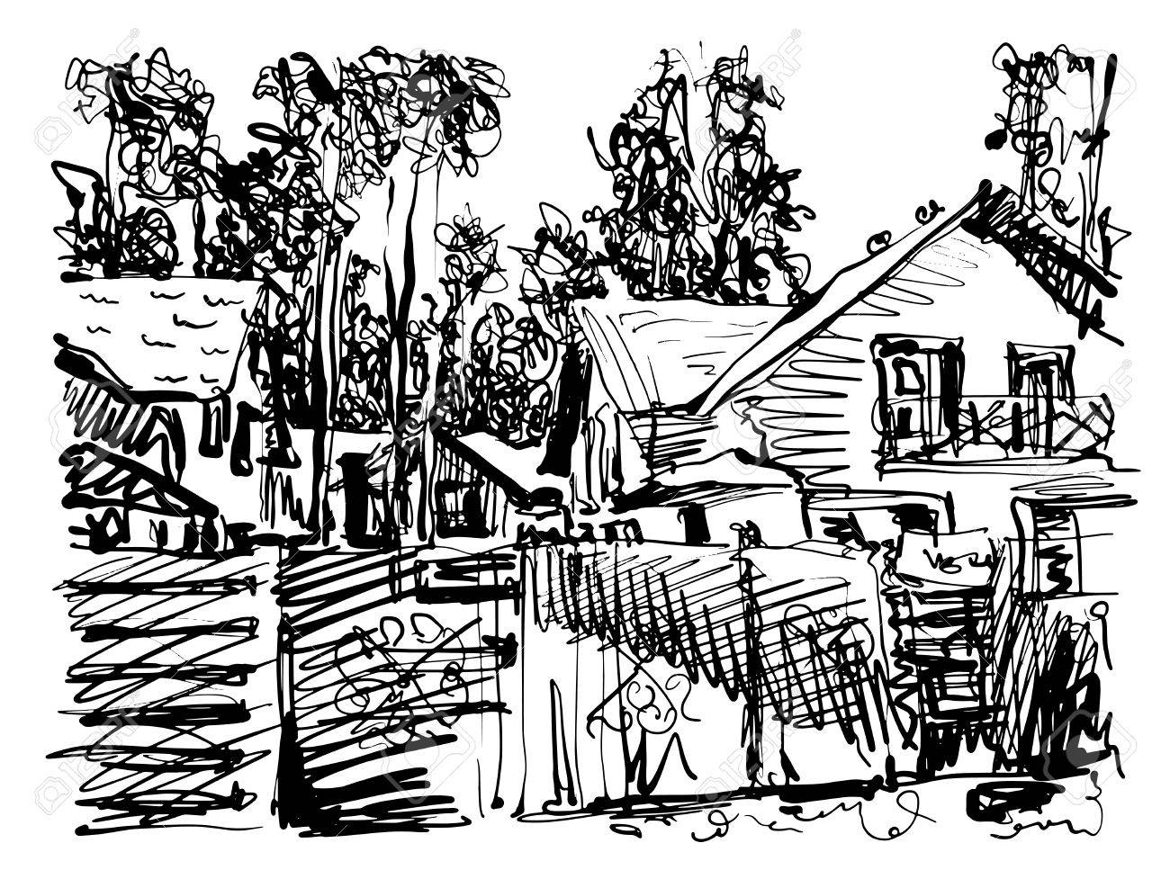 1300x987 Black And White Digital Graphic Of Village Composition With Houses