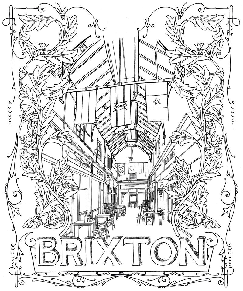 800x956 Brixton Village Pen Drawing