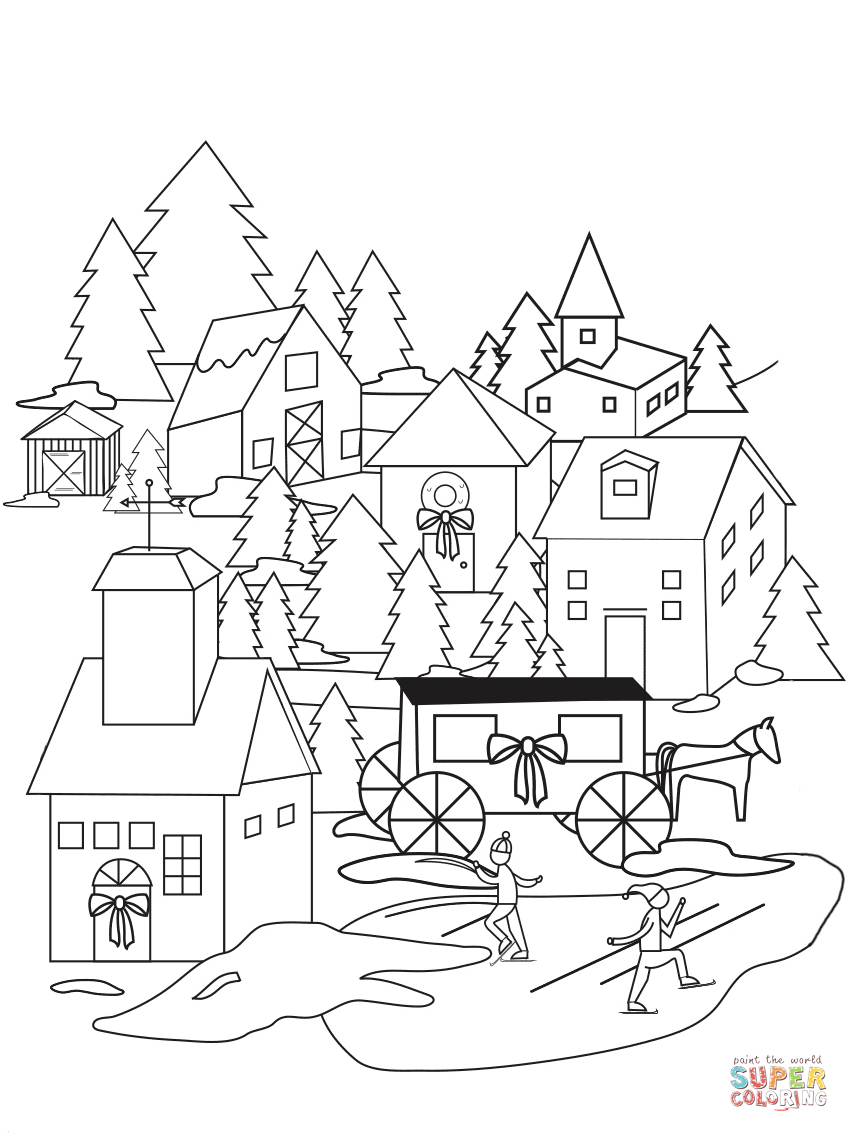 849x1132 Christmas Village Coloring Page Free Printable Coloring Pages