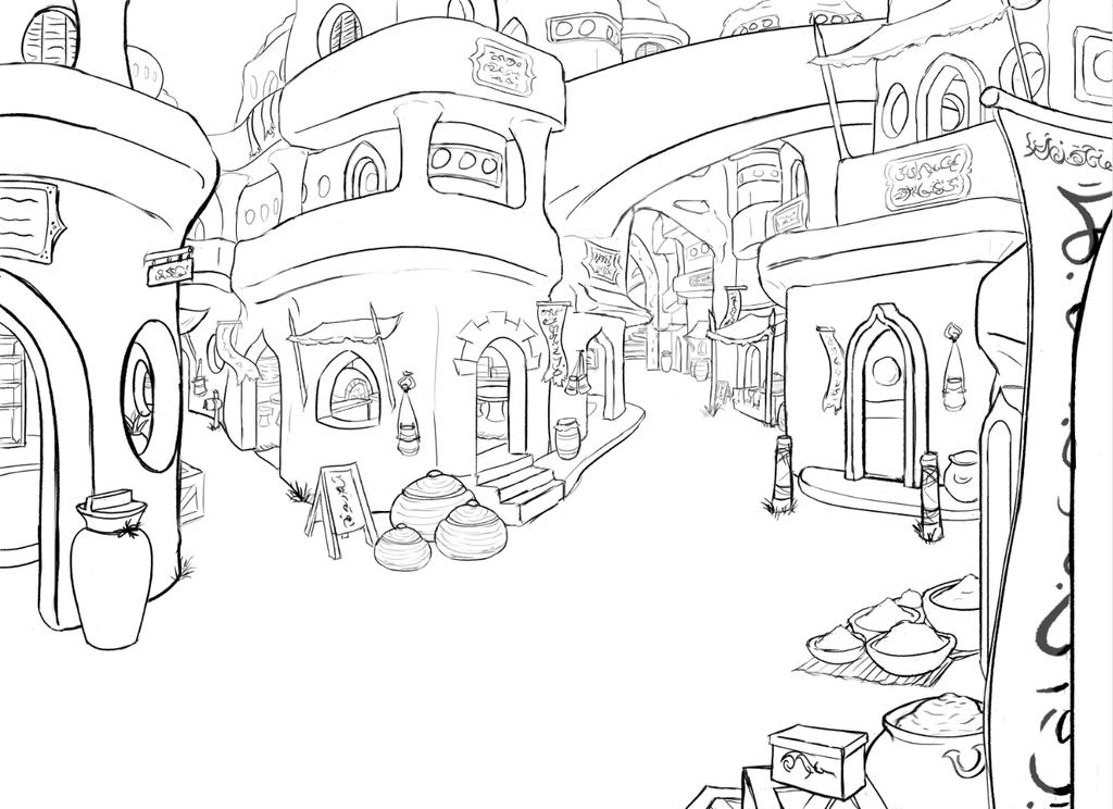 1024x744 Desert Zairania Village Sketch By Elbellart
