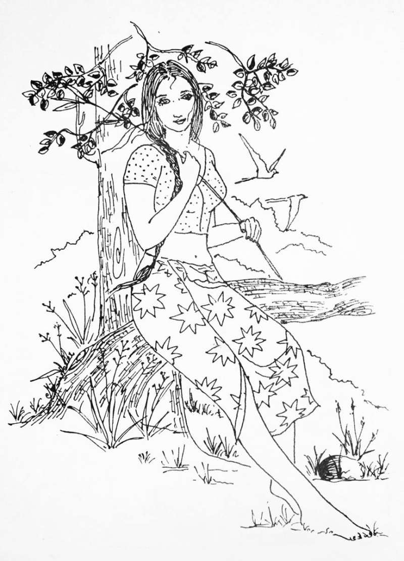 800x1110 Hd Village Girl Pencil Art Pencil Drawing Of Village Female