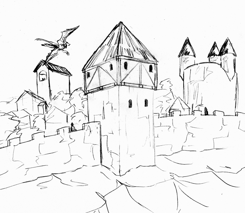 834x725 Medieval Sketch Village Walls By Archicrash