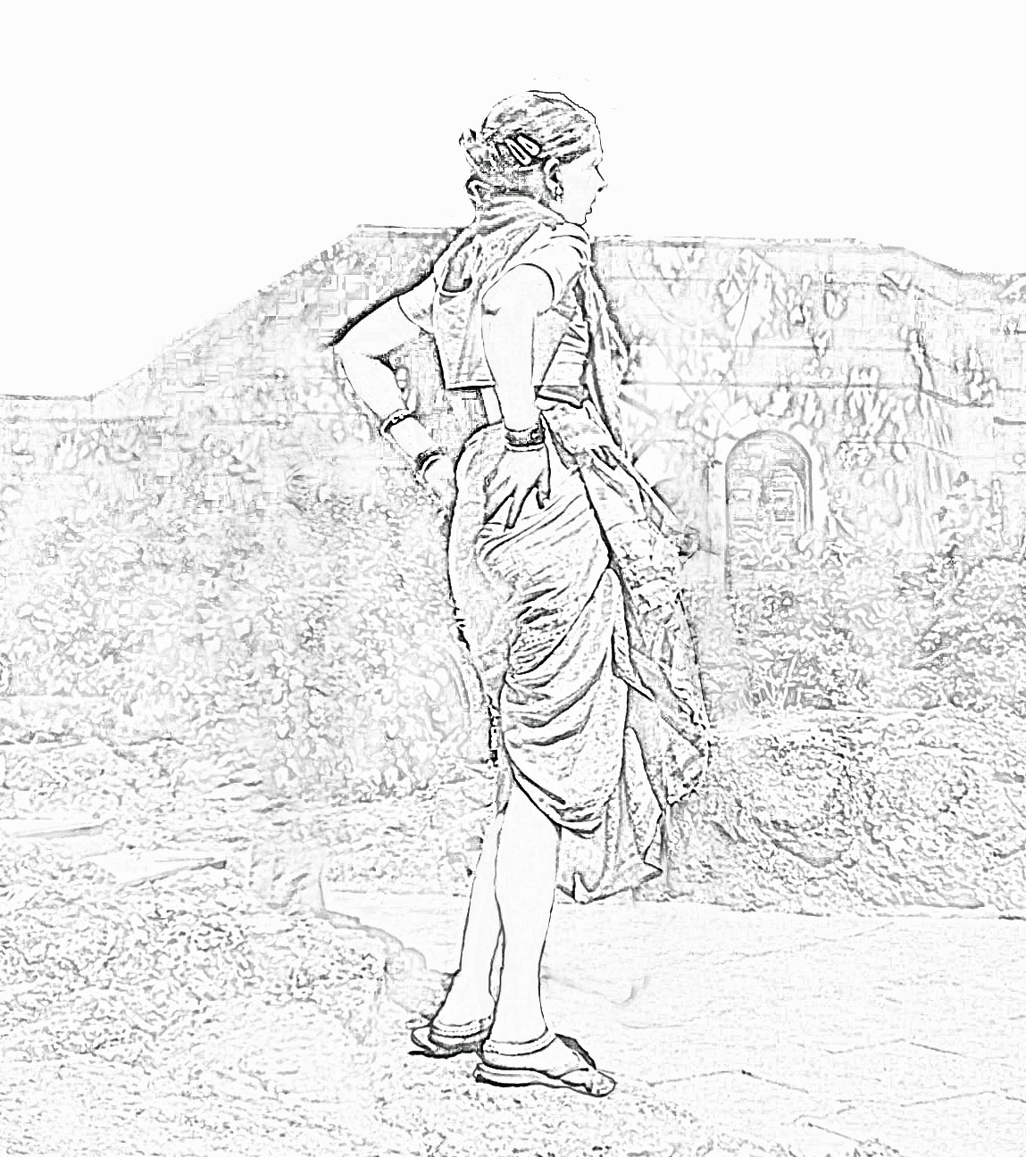 1149x1296 Sketch Of A Village Man Stock Pictures Village Women From India