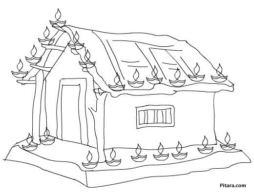 520x400 Village Home With Diwali Lights Coloring Page Pitara Kids Network