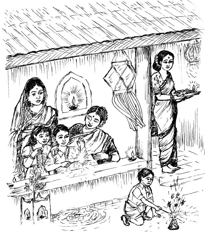800x904 diwali paintings scene drawing pictures sketch for kids happy