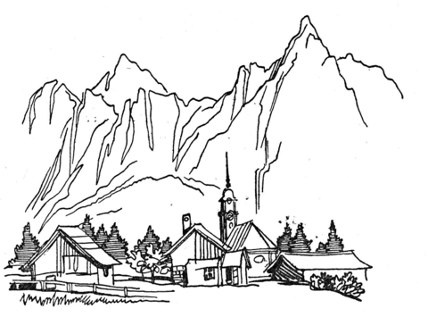 480x355 Village In The Mountains Coloring Page Free Printable Pages