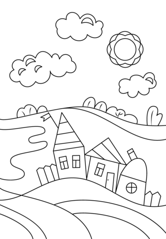 333x480 Village Scene Coloring Page Free Printable Coloring Pages