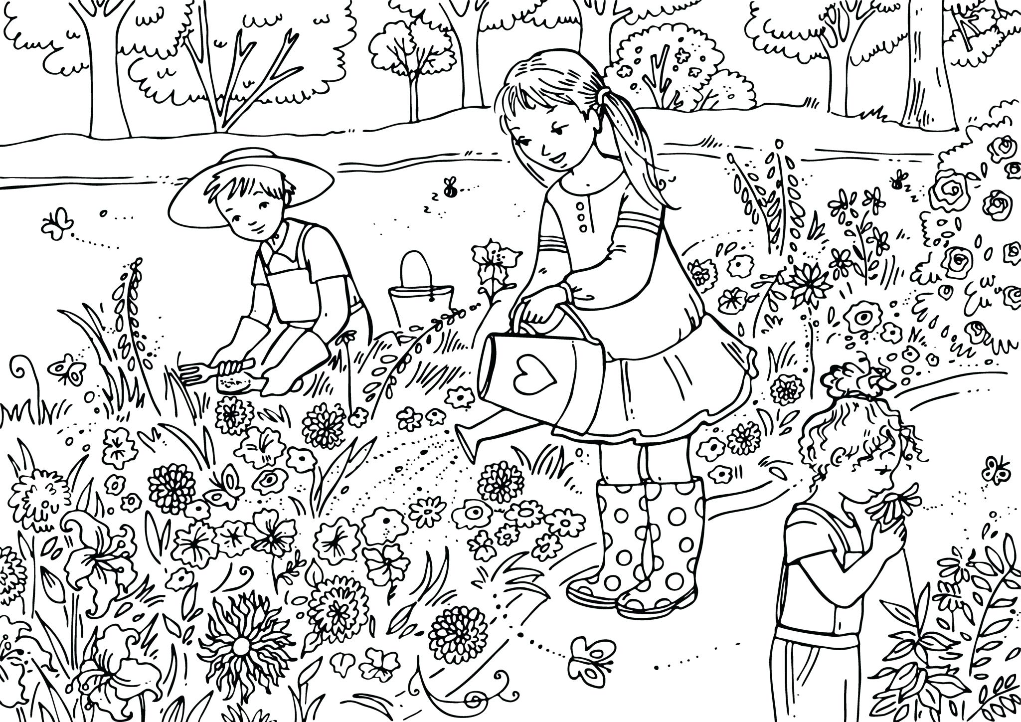2048x1448 Coloring Spring Scene Coloring Pages