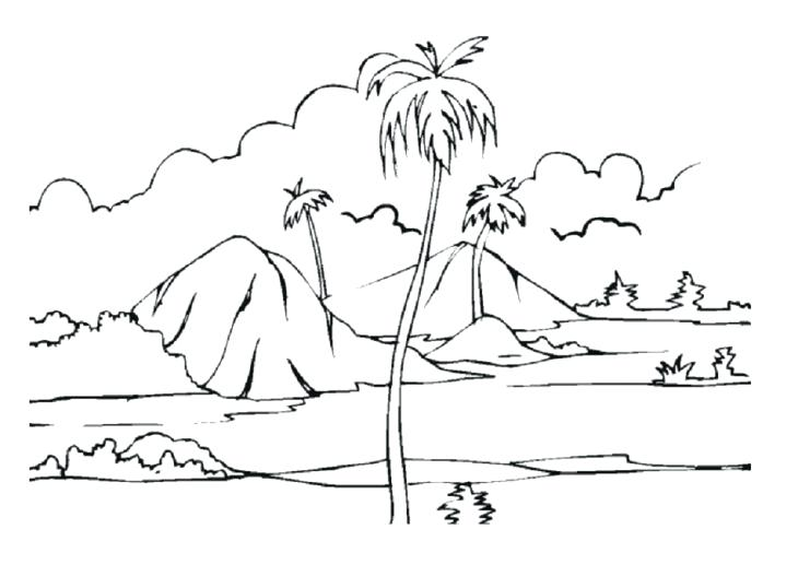 730x527 Simple Landscape Drawing For Kids To Drawn Landscape Colouring