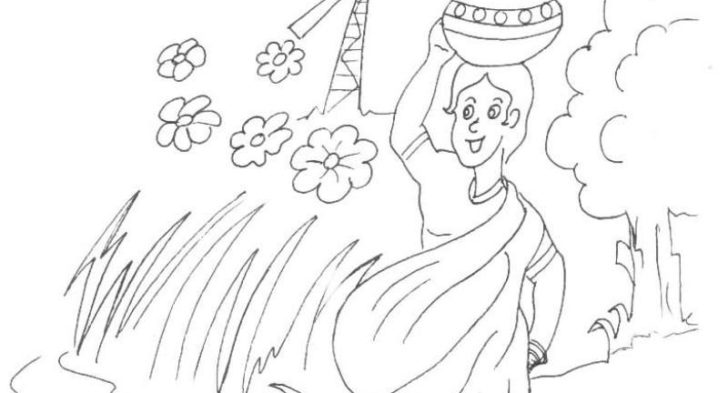 728x393 Village Scene Coloring Pages Scenery Coloring Pages For Kids