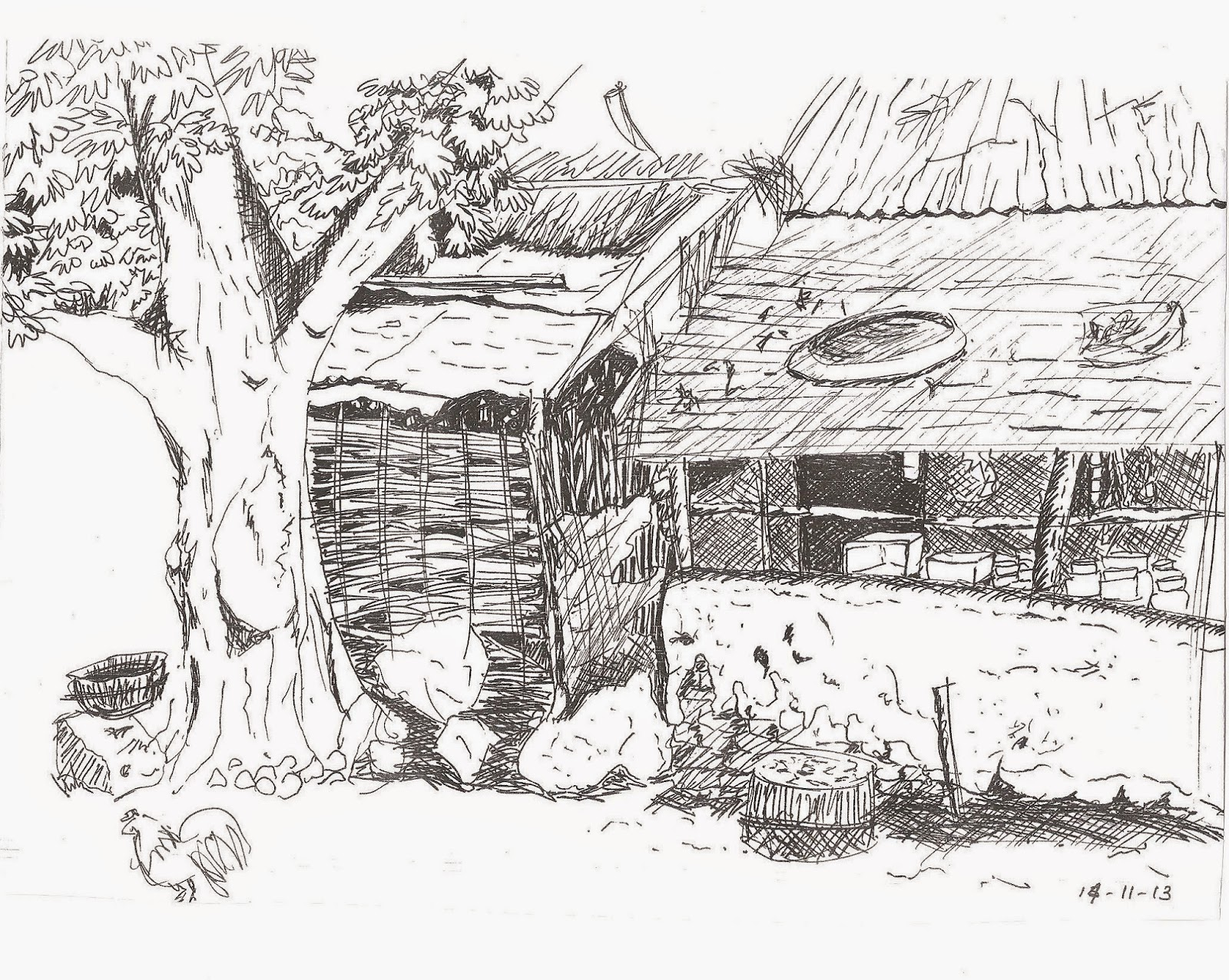Village Sketch Drawing