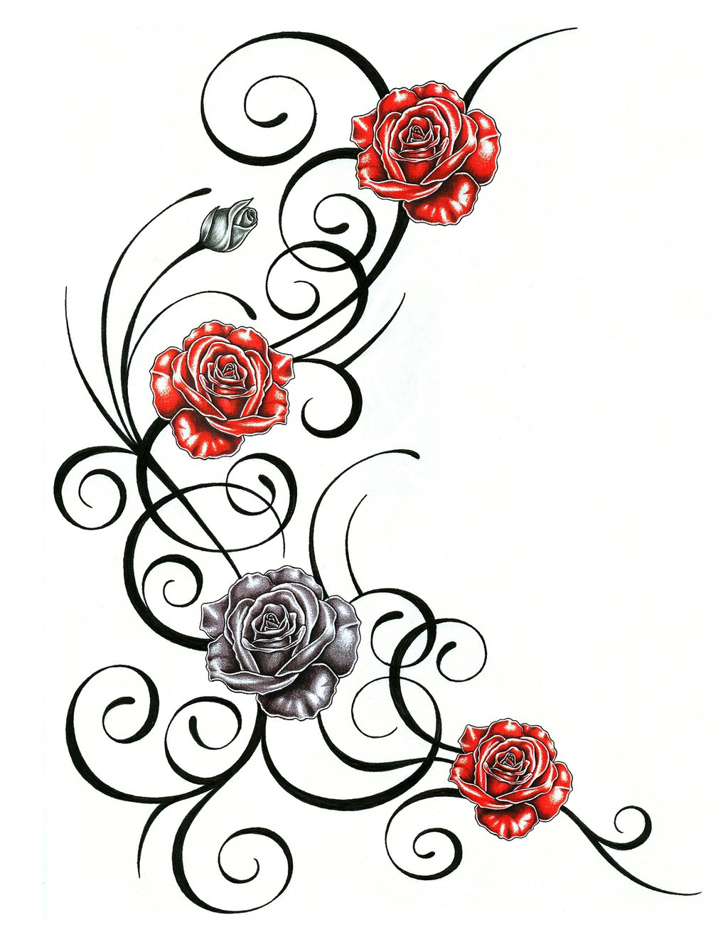 1024x1325 Rose Vine Drawing Designs Roses With Tribal Tattoo Design By