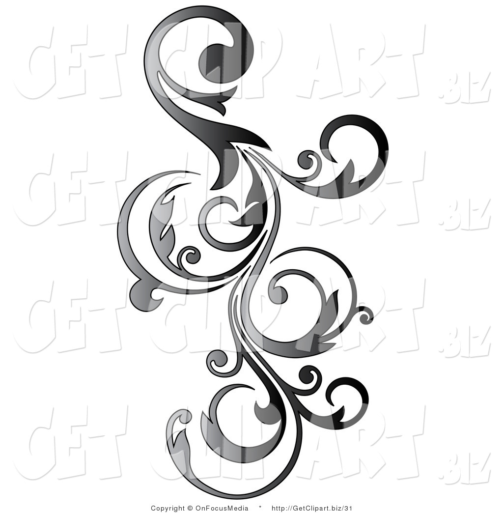 1024x1044 Clip Art Of A Gradient Gray Vertical Curly Vine Scroll Design By