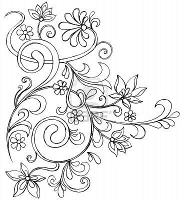 364x400 Deluxe Floral Vine Tattoo Designs Sketchy Doodle Vines And Flowers