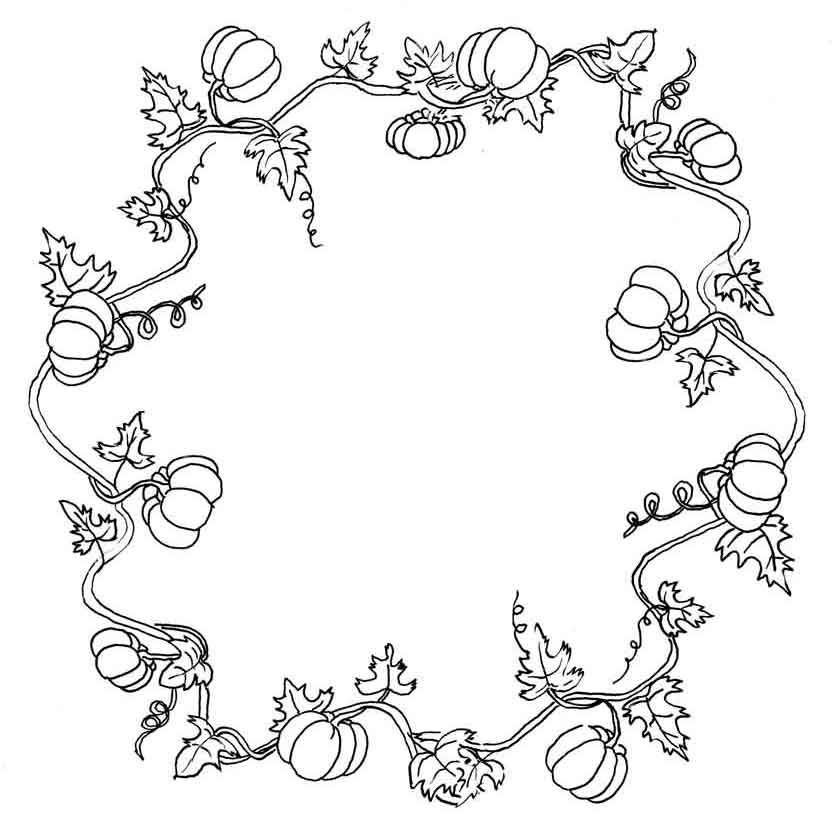 840x816 Vine Coloring Pages Fall Wreath Kit Just Paint It Blog