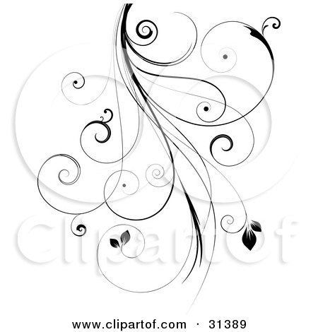 450x470 Clipart Illustration Of A Black Intricate Curly Vine With Leaves