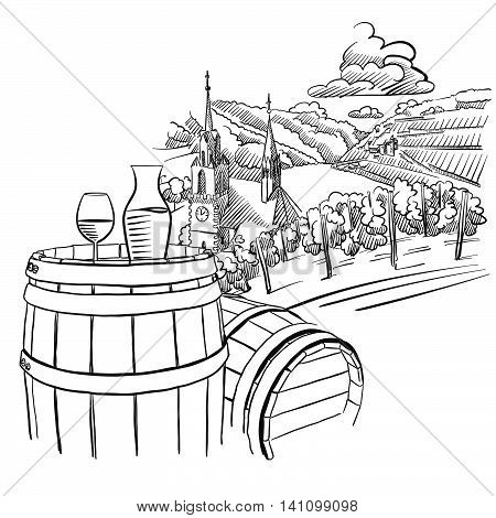 450x470 Glas Wine On Barrel Front German Vector Amp Photo Bigstock