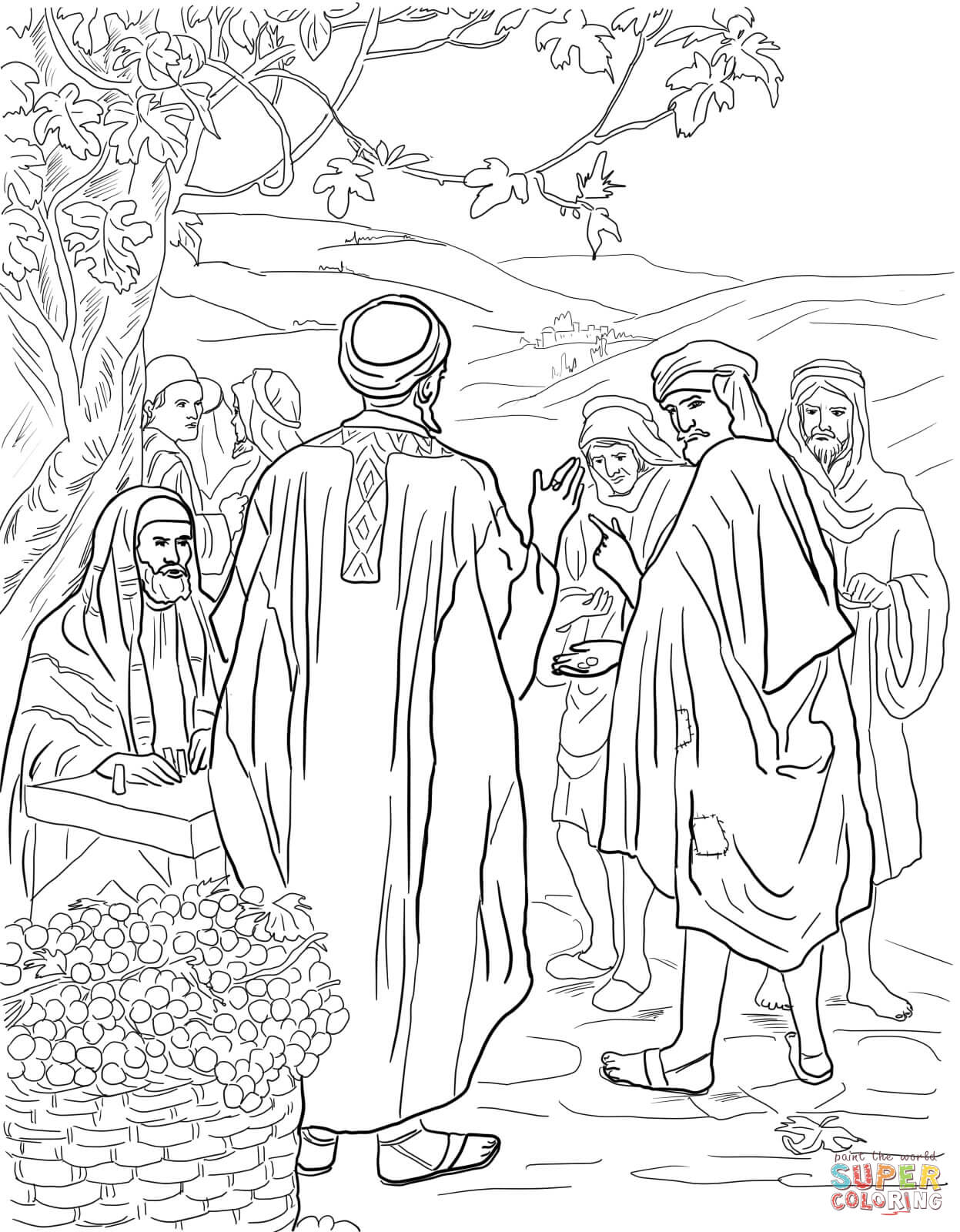 1247x1600 Parable Of The Workers In The Vineyard Coloring Page Free