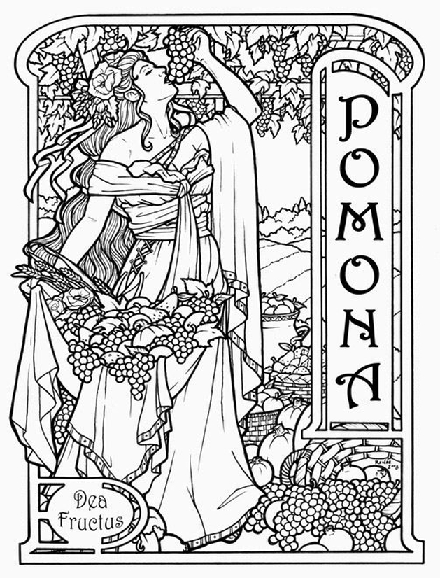 629x826 Pomona Roman Vineyard Goddess Challenging Coloring Pages