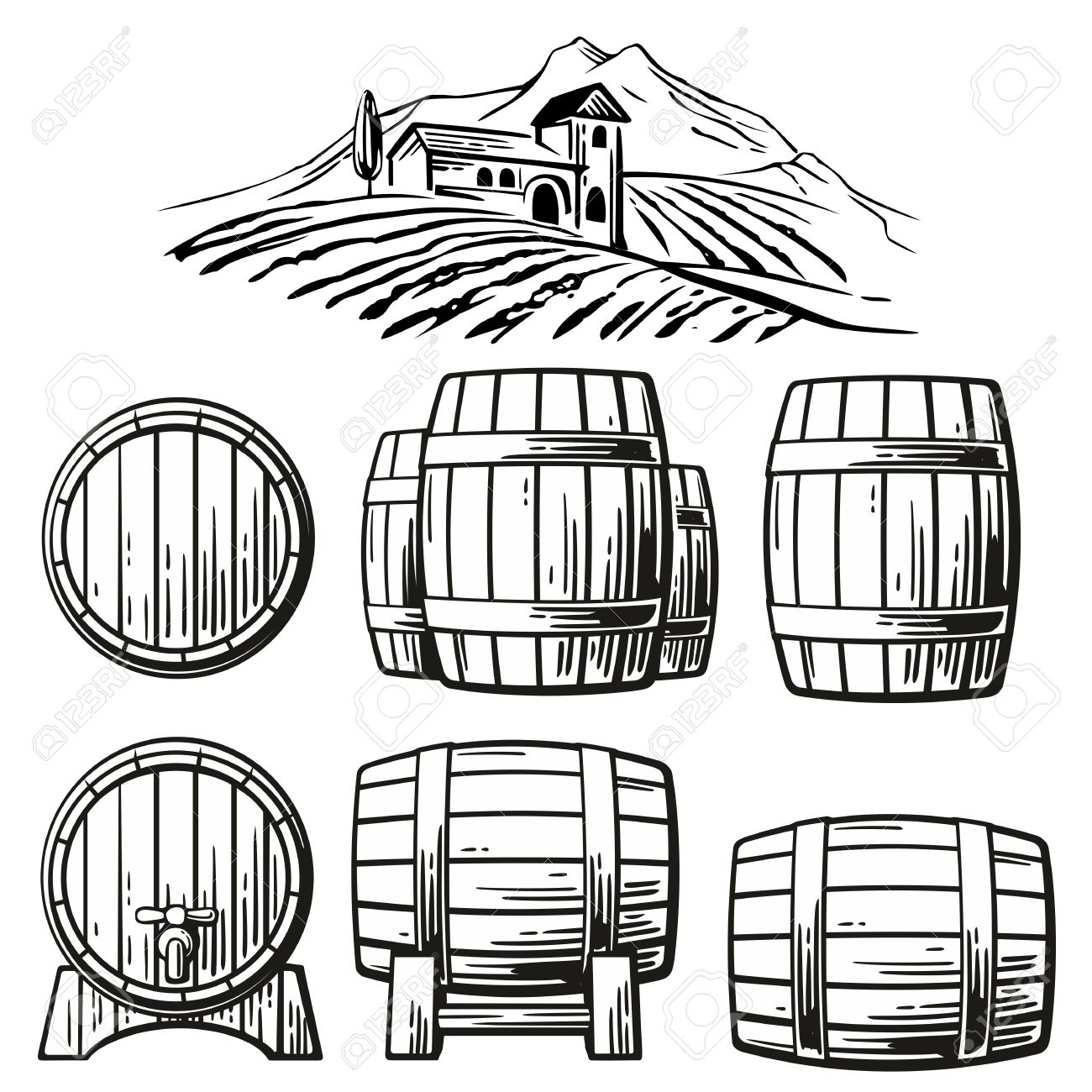 1300x1300 Wooden Barrel Set And Rural Landscape With Villa, Vineyard Fields