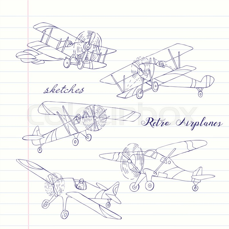 800x800 Background With Retro Airplanes. Hand Drawn Vintage Planes