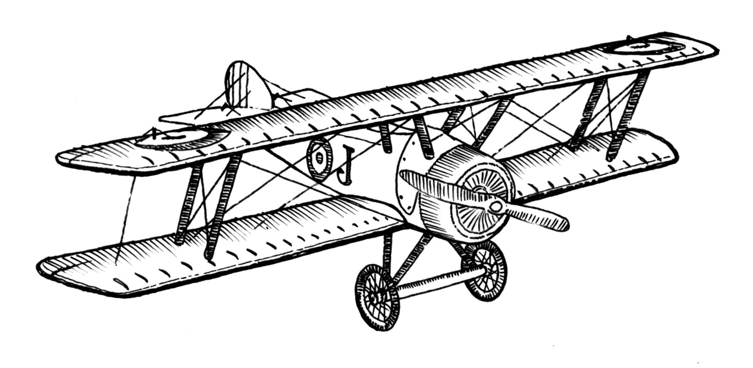 1500x734 Biplane Style Vintage Airplane Ink Drawing Clipart Ready