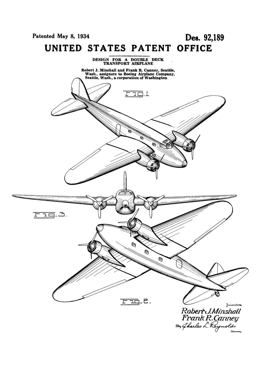 1021x1500 Boeing 247 Patent Airplane Blueprint, Pilot Gift, Airplane