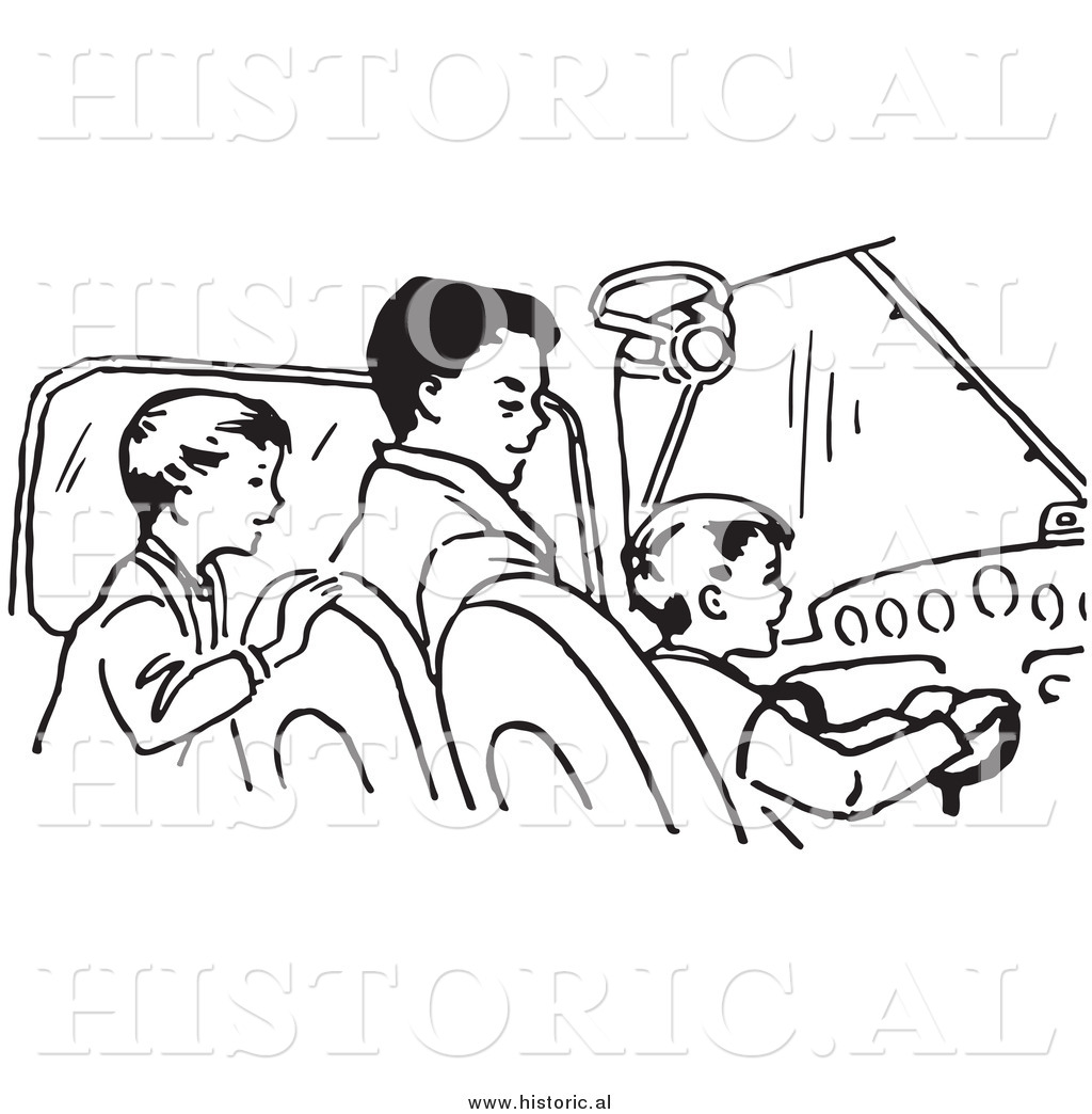 1024x1044 Clipart Of A Dad Teaching His Sons How To Fly An Airplane