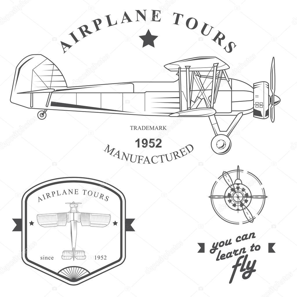1024x1024 Set Of Vintage Airplane Labels, Badges And Design Elements Stock