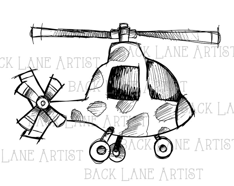 800x635 Vintage Helicoptere Airplane Clipart Lineart Illustration Instant