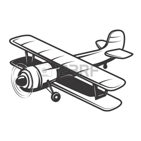 450x450 Vintage Plane Illustration Isolated Vector Illustration Royalty