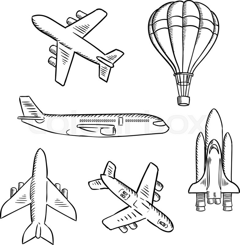 785x800 Air Transport Sketches With Jet Airplane, Cargo Planes, Vintage