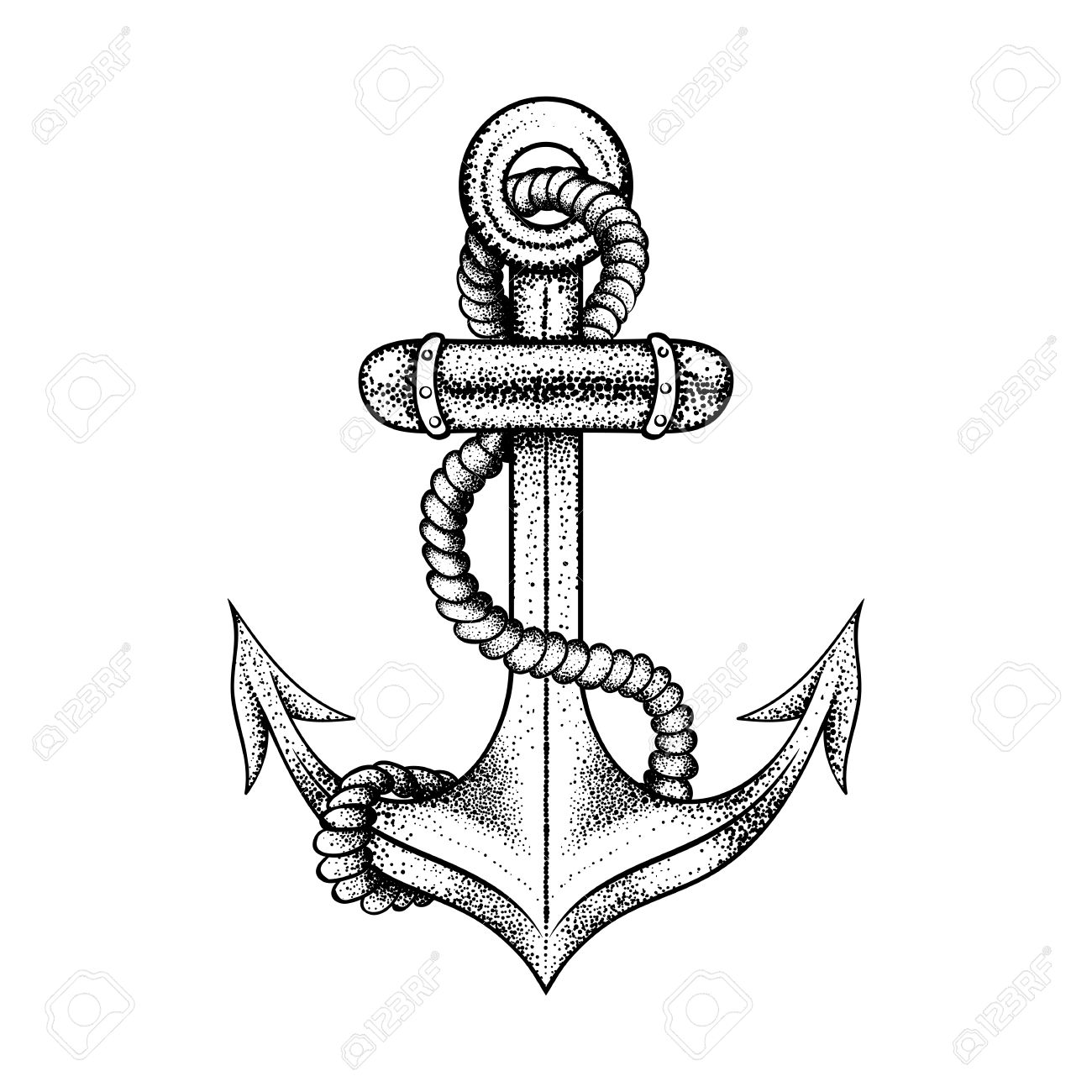 1300x1300 Hand Drawn Elegant Ship Sea Anchor With Rope, Black Sketch