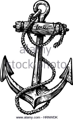 288x470 Hand Drawn Sketch Of Sea Anchor Isolated With Rope, Black