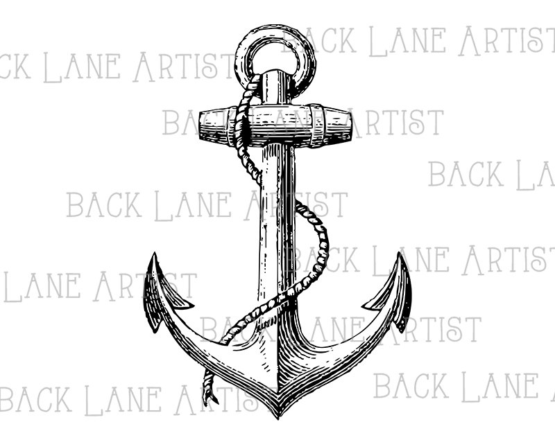 800x635 Vintage Ship Anchor Sailboat Clipart Lineart Illustration Instant