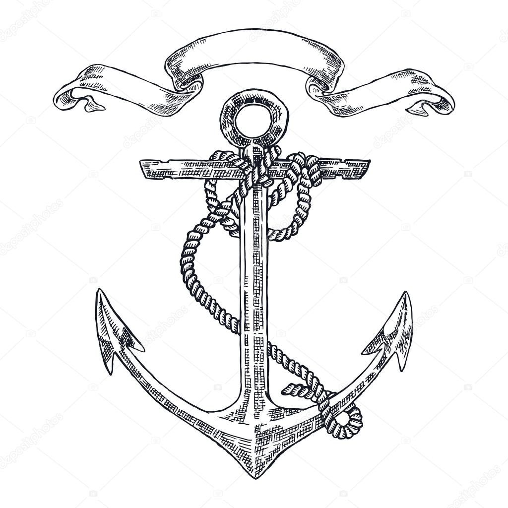 1024x1024 Vintage Anchor Graphic On White Background. Hand Drawn Vector