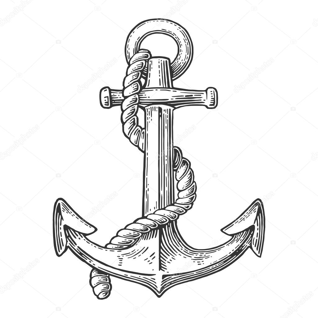 1024x1024 Anchor Isolated On White Background. Stock Vector