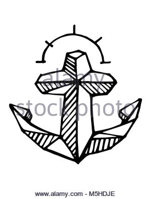 300x395 Anchor Vector Hand Drawn Illustration Engraved Style. Retro