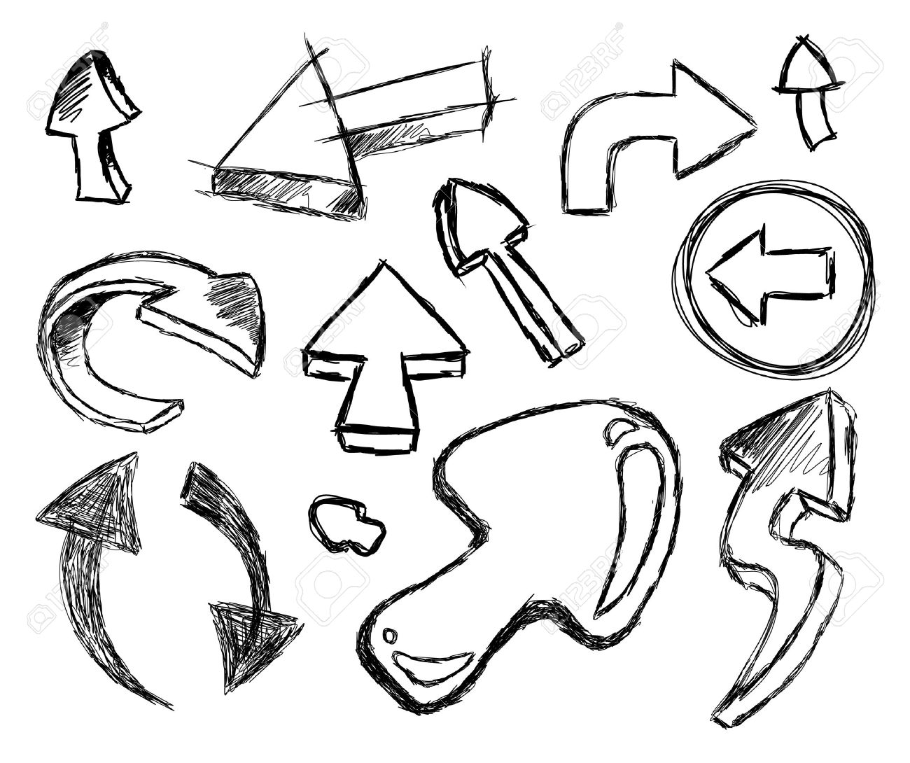 1300x1090 Funny 3d Style Collection Of Hand Made Sketch Arrows Royalty Free