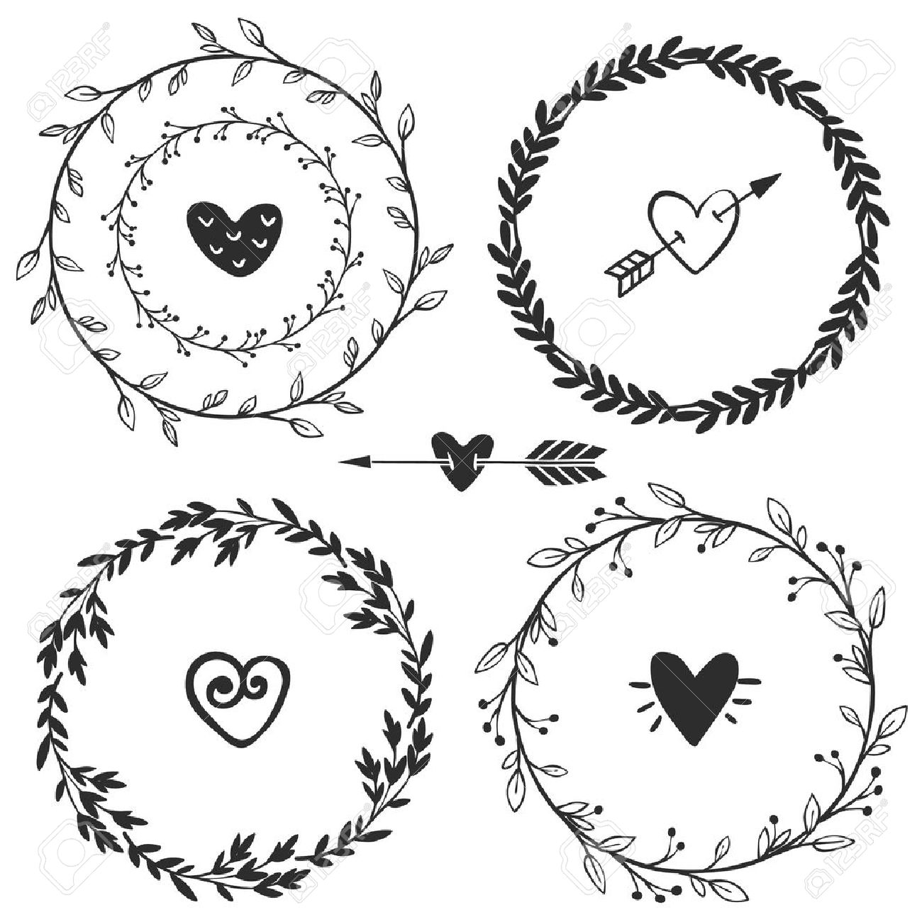1300x1300 Hand Drawn Rustic Vintage Wreaths With Hearts. Floral Vector
