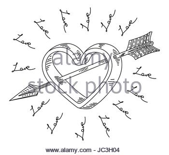 350x320 Love Heart Arrow Outline Drawing, Valentine Symbol Stock Vector