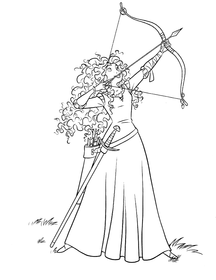 710x922 Merida Directing Bow Arrow Coloring Pages Printable Coloring