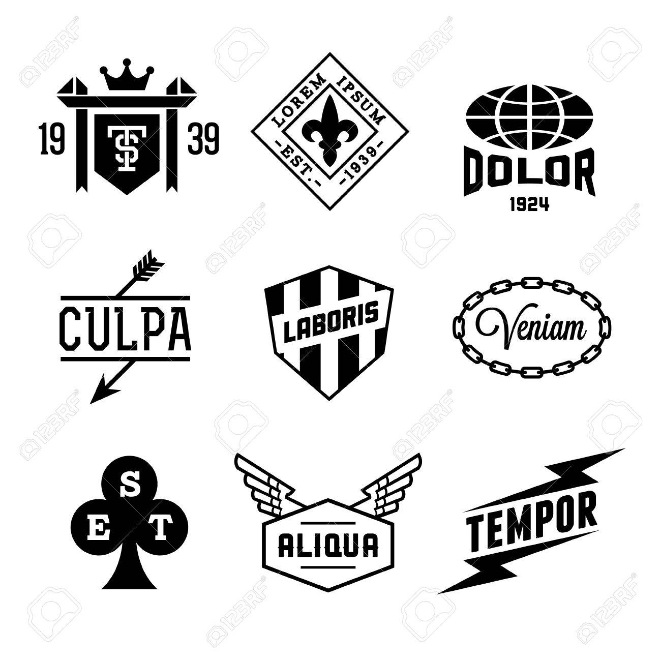 1300x1300 Vintage Labels With Shield, Crown, Arrow, Wing Royalty Free