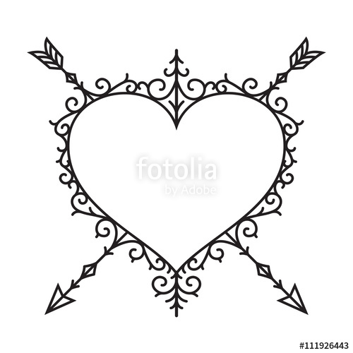 500x500 Graphic Vintage Heart And Arrow, Vector Stock Image And Royalty